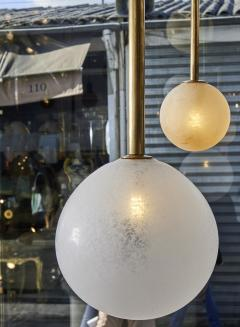 Pair of Brass Angular Chandeliers with Glass Globes - 1114515