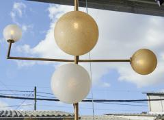 Pair of Brass Angular Chandeliers with Glass Globes - 1114516