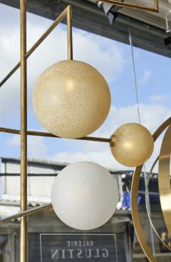 Pair of Brass Angular Chandeliers with Glass Globes - 1114518