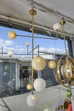 Pair of Brass Angular Chandeliers with Glass Globes - 1114519