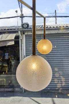 Pair of Brass Angular Chandeliers with Glass Globes - 1114521