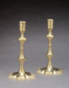 Pair of Brass Candlesticks with Shell Bases - 640271