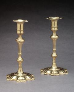 Pair of Brass Candlesticks with Shell Bases - 649755