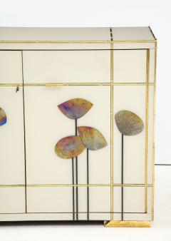 Pair of Brass Faux Bamboo and Ivory Murano Glass Dandelions Sideboards Italy - 1695749