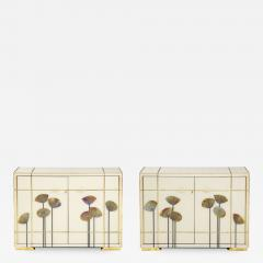 Pair of Brass Faux Bamboo and Ivory Murano Glass Dandelions Sideboards Italy - 1695801