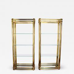 Pair of Brass Finish Etageres Attributed to Mastercraft - 1264987