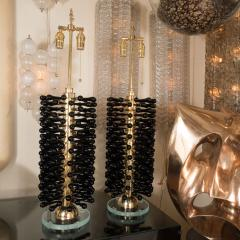 Pair of Brass Lamps with Black Glass Drop Details - 375945