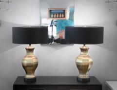 Pair of Brass Table Lamps with Ebony Bases - 192969