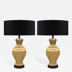 Pair of Brass Table Lamps with Ebony Bases - 193234