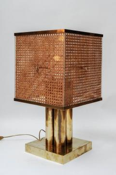Pair of Brass Wicker and Plexi Table Lamps - 1174465