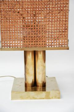 Pair of Brass Wicker and Plexi Table Lamps - 1174467