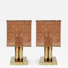 Pair of Brass Wicker and Plexi Table Lamps - 1175182