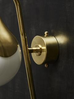 Pair of Brass and Glass Globe Wall Sconces - 1927595