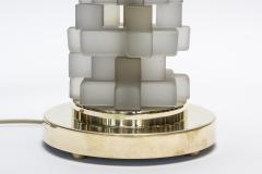 Pair of Brass and Grey Frosted Glass Table Lamps - 1066260