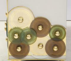 Pair of Brass and Ivory Murano Glass with Glass Discs Sideboards Italy 2021 - 1998750