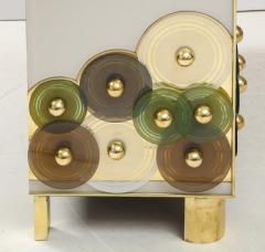 Pair of Brass and Ivory Murano Glass with Glass Discs Sideboards Italy 2021 - 1998752