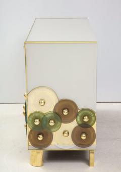 Pair of Brass and Ivory Murano Glass with Glass Discs Sideboards Italy 2021 - 1998753
