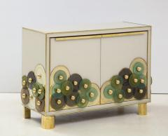 Pair of Brass and Ivory Murano Glass with Glass Discs Sideboards Italy 2021 - 1998758