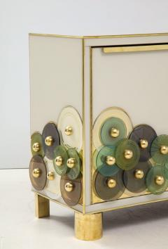 Pair of Brass and Ivory Murano Glass with Glass Discs Sideboards Italy 2021 - 1998759