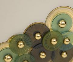 Pair of Brass and Ivory Murano Glass with Glass Discs Sideboards Italy 2021 - 1998761