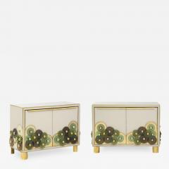 Pair of Brass and Ivory Murano Glass with Glass Discs Sideboards Italy 2021 - 2002405
