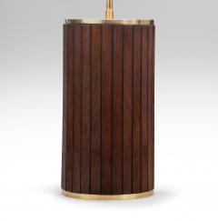 Pair of Brass and Mahogany Cylindrical Lamps - 1064451