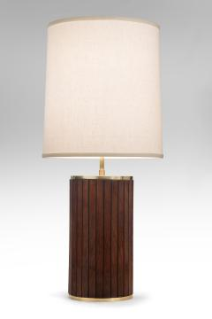 Pair of Brass and Mahogany Cylindrical Lamps - 1064454