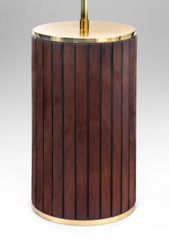 Pair of Brass and Mahogany Cylindrical Lamps - 1064455