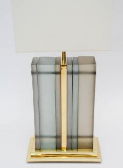 Pair of Brass and Sheets of Murano Glass Table Lamps - 716237