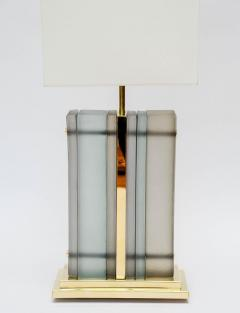 Pair of Brass and Sheets of Murano Glass Table Lamps - 716238