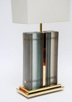 Pair of Brass and Sheets of Murano Glass Table Lamps - 716240