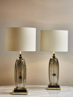Pair of Brass and Smoked Murano glass Table Lamps - 1933647