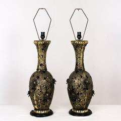 Pair of Bronze Brutalist Style Pierced Table Lamps - 462123