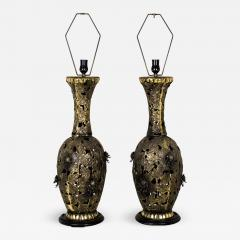 Pair of Bronze Brutalist Style Pierced Table Lamps - 462545