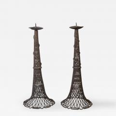 Pair of Bronze Fishnet Candlesticks - 351595