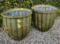 Pair of Bronze Fluted Planters - 1877452