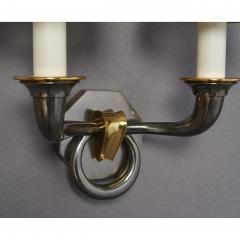 Pair of Bronze Sconces in Gunmetal Finish France 1950s - 1909242
