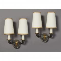 Pair of Bronze Sconces in Gunmetal Finish France 1950s - 1909251