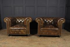 Pair of Brown Leather Chesterfield Club Chairs - 2027778