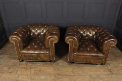 Pair of Brown Leather Chesterfield Club Chairs - 2027779