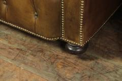 Pair of Brown Leather Chesterfield Club Chairs - 2027780