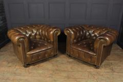 Pair of Brown Leather Chesterfield Club Chairs - 2027782