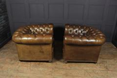 Pair of Brown Leather Chesterfield Club Chairs - 2027783