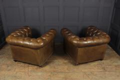 Pair of Brown Leather Chesterfield Club Chairs - 2027784