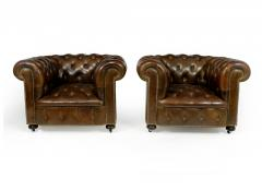 Pair of Brown Leather Chesterfield Club Chairs - 2027785
