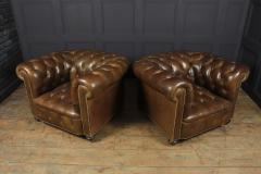 Pair of Brown Leather Chesterfield Club Chairs - 2027786