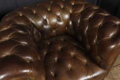 Pair of Brown Leather Chesterfield Club Chairs - 2027787