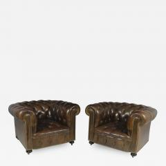 Pair of Brown Leather Chesterfield Club Chairs - 2029170