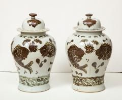 Pair of Brown and White Ginger Jars - 1312583