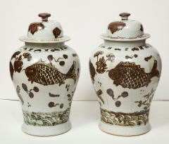 Pair of Brown and White Ginger Jars - 1312584